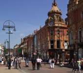 Briggate is at the heart of Leeds' popular shoopping precincts.