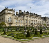 The frontage of the sprawling Harewood House. Home to David Lascelles, the 8th Earl of Harewood. he is a relative of the Queen.
