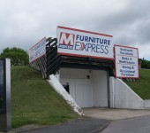 A typical shop front on the unique Thorp Arch estate. Due to it's previous use as an underground munitions factory most of the space is still built in to the ground.