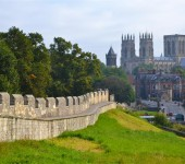 Part of york City's wall with York minster's dominating figure in the background.
