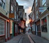 The medieval 'Shambles' in York is a narrow street (often called the best preserved of it's kind in the country) that was originally home to the city's butchers. The gully between the raised pathways was used twice weekly to wash away blood and offal. This was of course before hygiene and health and safety laws!