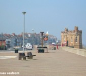 The seafront at Withernsea featuring the iconic Pier Towers.