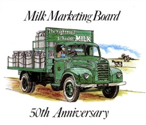 50th Anniversary stamp for the Milk Marketing Board
