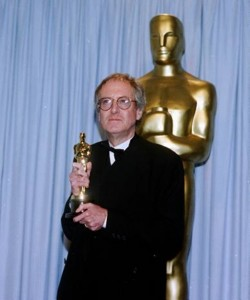 John Barry and his oscar statue award