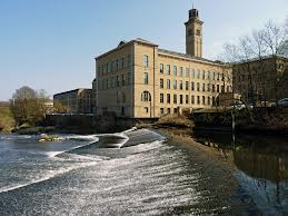 A photograph of Salts Mill, which lies in the World Heritage Site, Saltaire. Built it 1853 by Sir Titus Salt.
