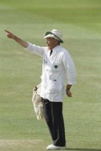 An Image of DIckie Bird as an Umpire, a position which he held for 26 years.