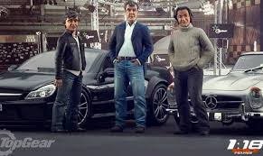 The three top gear presenters, Clarkson, Hammond and May, who have become more famous than the show its self.