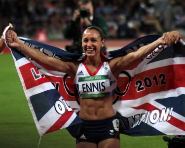 Jessica Ennis after winning the heptathlon gold medal at the London 2012 Olympics. Picture credit: Robbie Dale wikipedia creative commons.