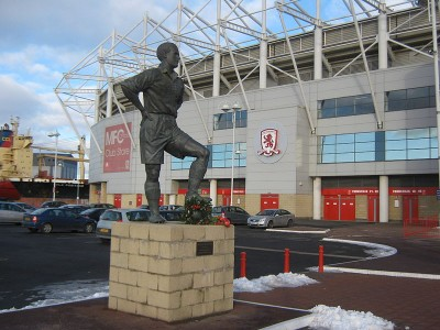 The statue of former player George Hardwick outside The Riverside stadium. PIcture credit: Peter Robinson geograph wikipedia creative commons.