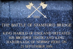 A plaque commemorating the famous battle of stamford bridge