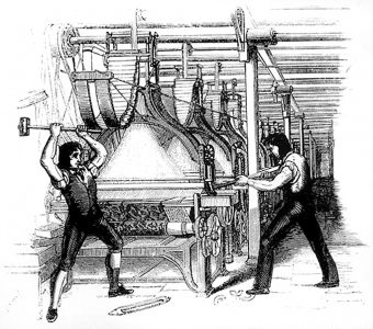 The Luddites were skilled craftsmen who would break machinery in mills in protest. Picture credit: wikipedia public domain.