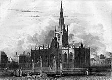 Sheffield parish church before it became a Cathedral picturedl in 1819