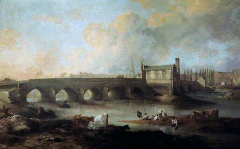 Wakefield Bridge and chapel in 1793. Picture credit wikipedia Public domain