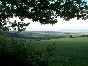 The Humber estuary from the Wolds Way at Mount Airy Farm near South Cave