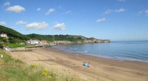 Sandsend beach is a distinctive feature on the coast.