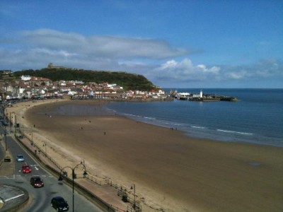 The familiar Scarborough sea front.