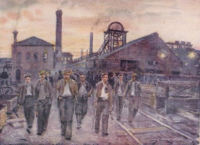 The way things were: This painting in 1914 shows mine workers leaving the pit after a long shift. Author: Gerald Palmer 1914. Wikipedia Creative commons.