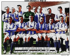 The first Leeds United team adorned in unfamiliar blue and white stripes thanks to an interfering chairman Source WAFLL