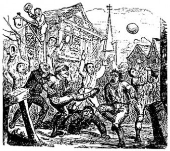 Mob football was the disorganised, often violent forerunner of organised sport. Source: Creative commons public domain.