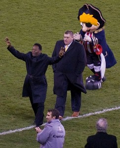 "Guest of honour Pele' graces the Bramall Lane pitch during the 150 year anniversary celebrations of Sheffield FC. Source Creative commons: (""john the scone"")"