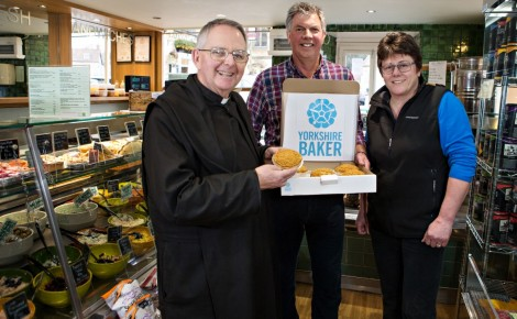 The new pies at Hunters of Helmsley deli left to right Terence Richardson, Prior of Ampleforth Abbey, Chris Garnett co owner of Hunters and Gill Ridgard, founder of The Yorkshire Baker.
