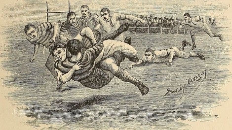 "An early game of rugby where tacking or ""collaring"" a player was allowed. Source: Wikipedia creative commons public domain."