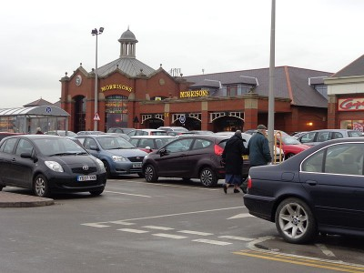 Morrisons in Harrogate- The Yorkshire supermarket chain has kept Ken Morrison in the top 5 rich list despite their recent troubles: Picture credit Steve F Wikipedia creative commons