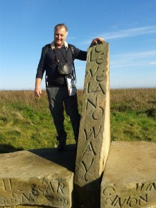 Author Andrew Nichols at the start of the Cleveland way in Helmsley. Picture credit: with thanks to Shona Nutter.