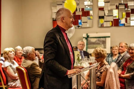 Rev Nick Baines, the Bishop of Leeds addresses the audience about his life as a spy and man of the cloth. Picture credit: Alex Naylor.
