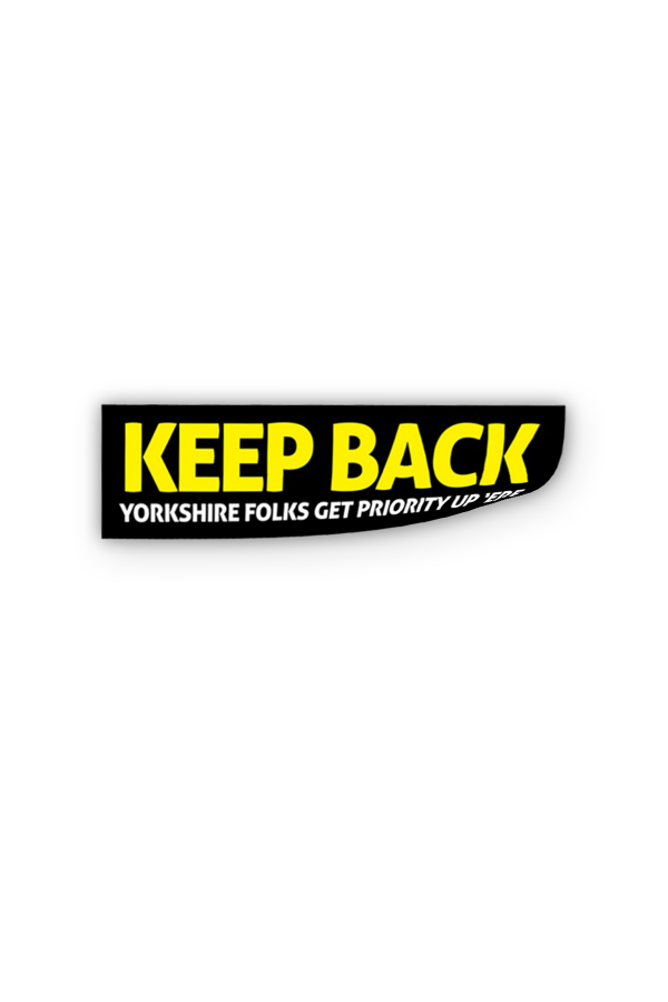 Keep back sticker