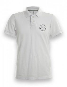 White and black Yorkshire Rose polo shirt