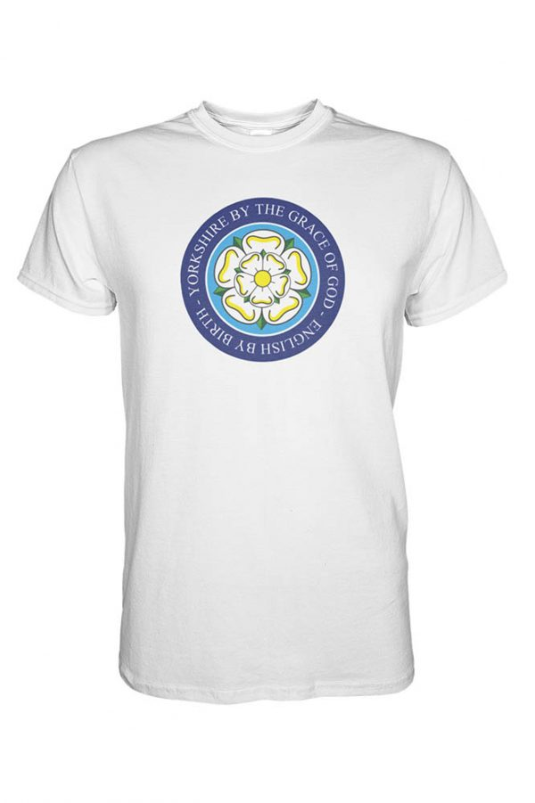 yorkshire by the grace of god full chest design whit t-shirt