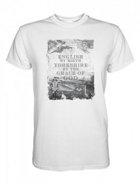 yorkshire by the grace of god full chest design on white t-shirt