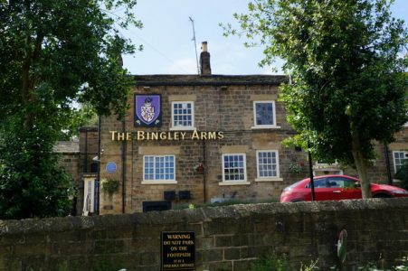 The oldest pub in not only Yorkshire, but the UK (and possibly the world) The Bingley Arms in Bardsey has been serving beer for over 1000 years!