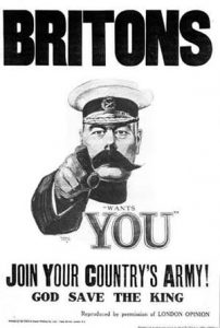 Recruitment posters such as this persuaded thousands of ordinary people to volunteer for the army. Picture credit: wikipedia public domain.
