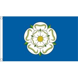 Yorkshire White Rose Flag 5ft x 3ft  Metal Eyelets