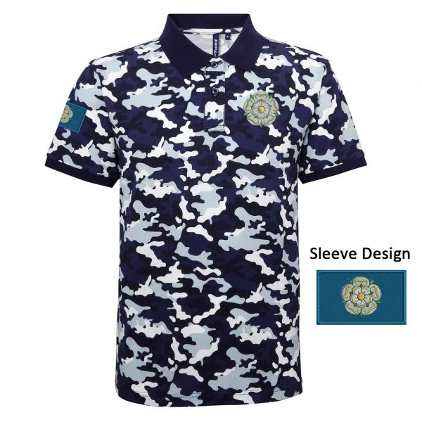 yorkshire rose and flag camo polo shirt blue