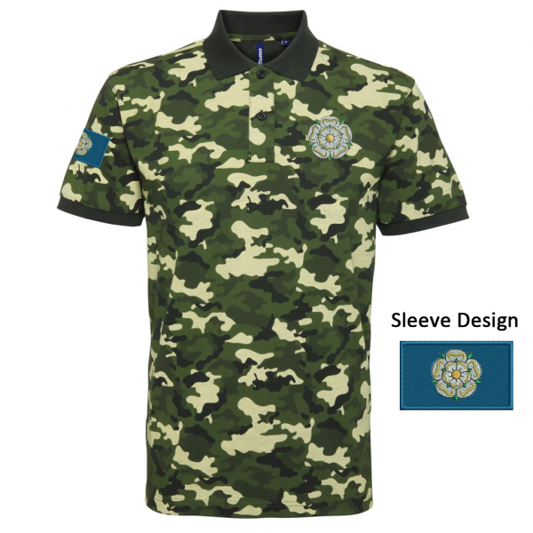 yorkshire rose and flag camo polo shirt green