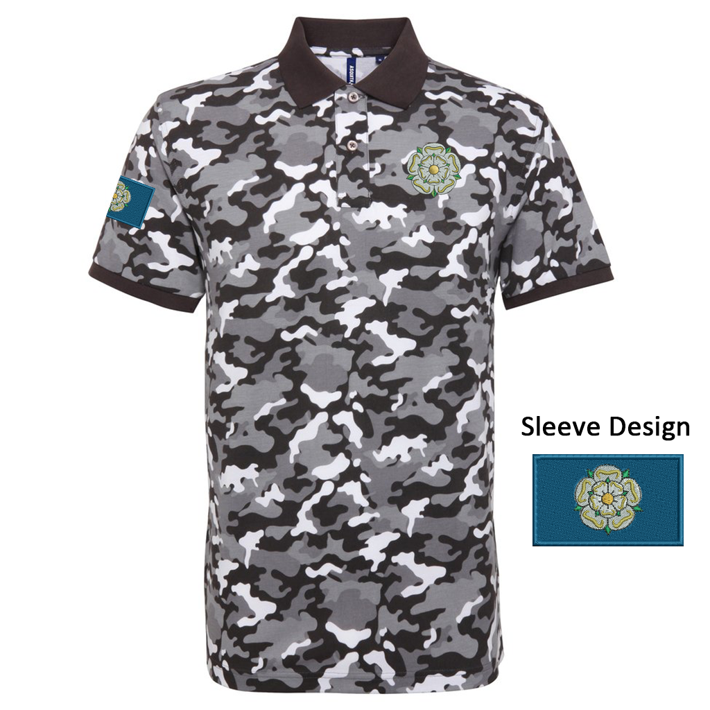 Yorkshire camo polo shirt embroidered rose and