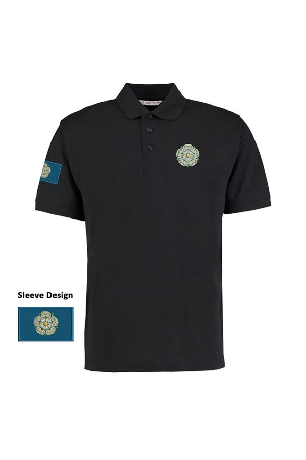 yorkshire rose and flag polo shirt black