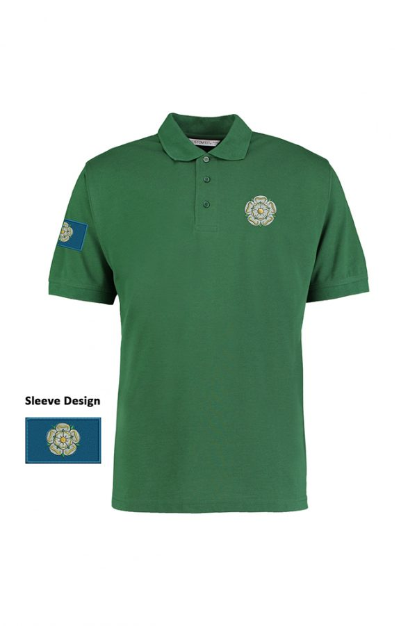 yorkshire rose and flag polo shirt bottle green