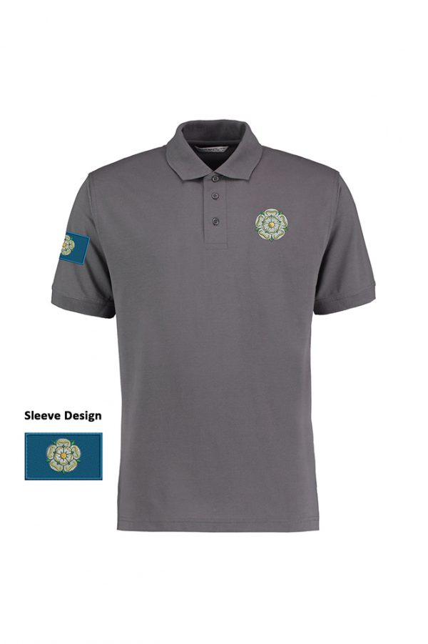 yorkshire rose and flag polo shirt charcoal