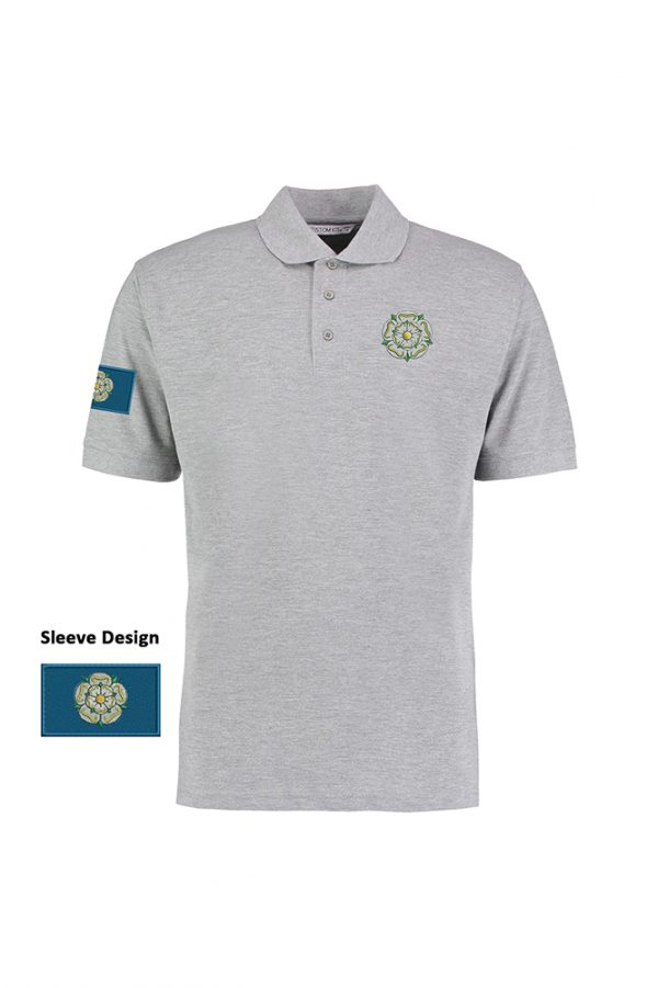 yorkshire rose and flag polo shirt heather grey