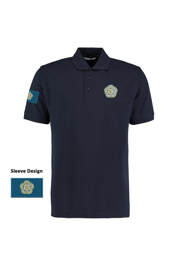 yorkshire rose and flag polo shirt navy