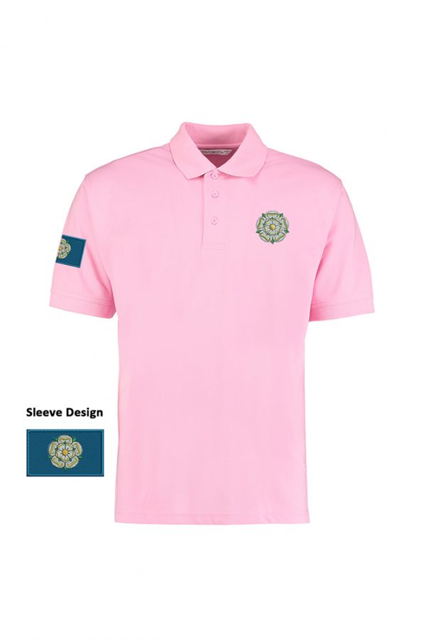 yorkshire rose and flag polo shirt pink