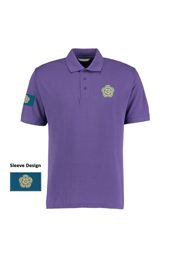 yorkshire rose and flag polo shirt purple