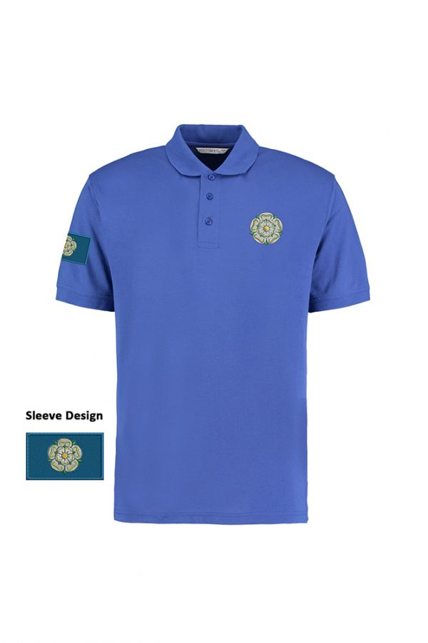 yorkshire rose and flag polo shirt royal blue