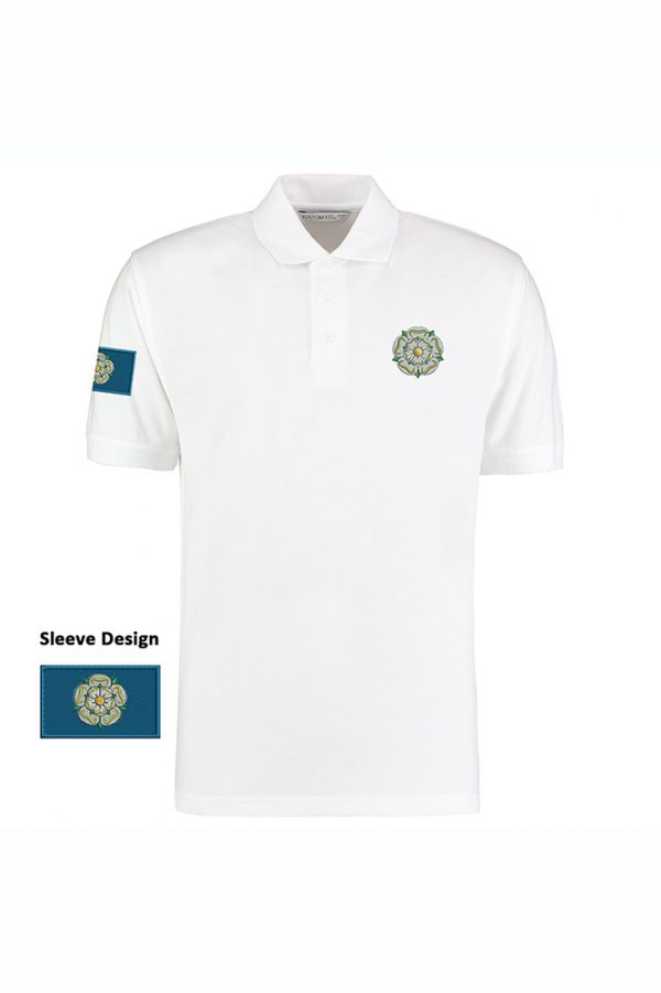 yorkshire rose and flag polo shirt white