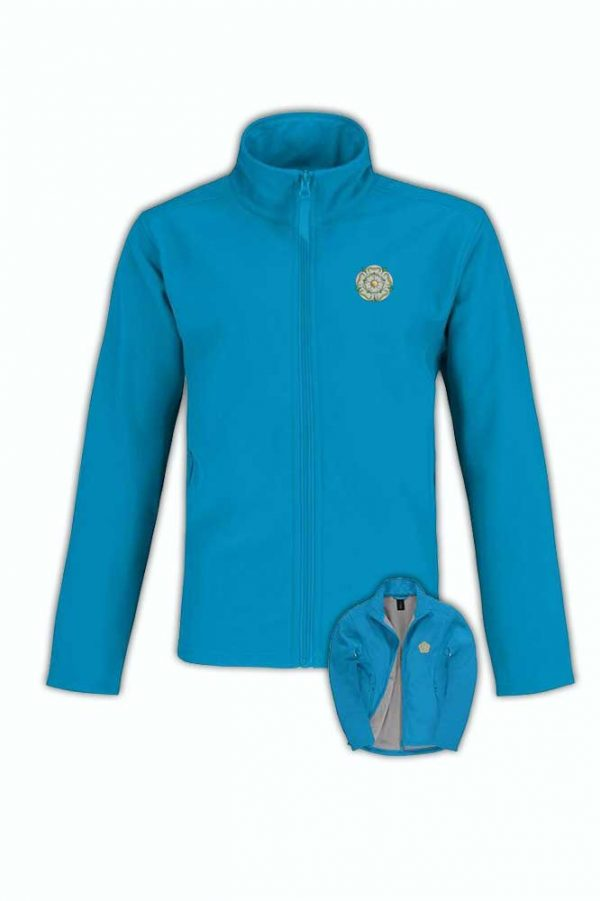 yorkshire rose embroidered on blue atoll softshell