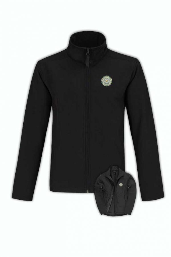 yorkshire rose embroidered on black softshell